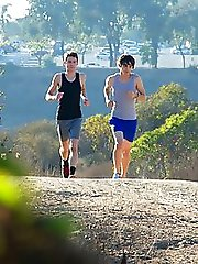 Evan Parker and Matthew Keading are out for a run on a beautiful sunny