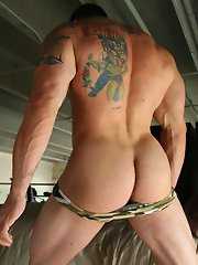 Hairy, inked muscle stud Xavier and his thick tool